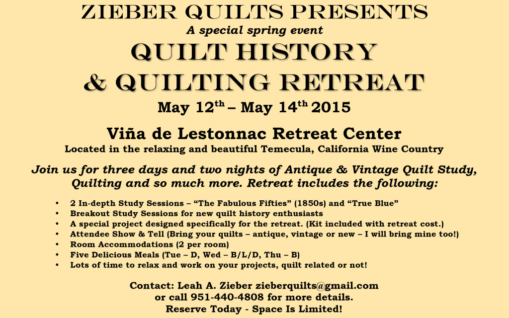 ZIEBER QUILTS SPRING RETREAT